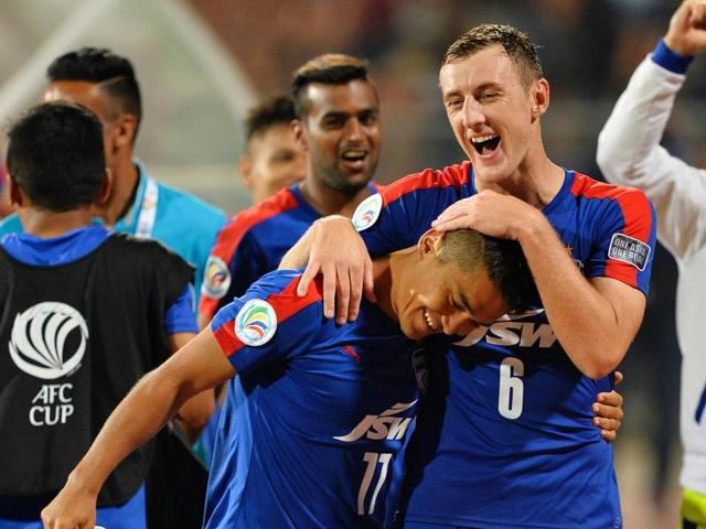 Bengaluru's players celebrate after winning the 2016 Asian Football Confederation (AFC) Cup semi-final.