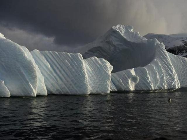 This file photo shows an iceberg is pictured in the western Antarctic peninsula.