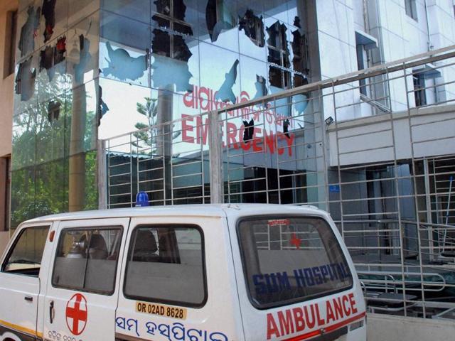 The damaged emergency ward of SUM hospital in Bhubaneswar.