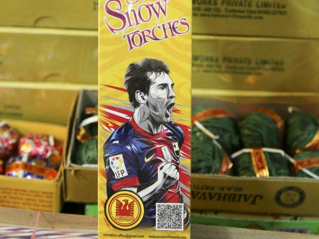 Fancy firecrackers are in the market once again, this time not just branded with Bollywood and Hollywood celebrities, but also footballers and cartoon characters, ahead of the Diwali festival. Like this Messi Snow Torches? (Prabhas Roy/ HTPhoto)
