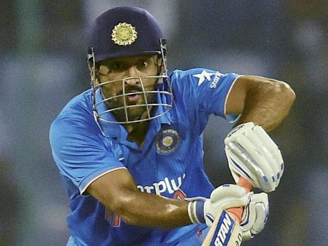India's Mahendra Singh Dhoni plays a shot during the second One Day International (ODI) cricket match.
