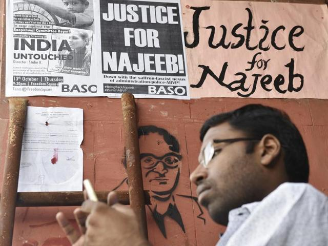 Students protest outside the JNU administrative block seeking action over the disappearance of student Najeeb Ahmed.