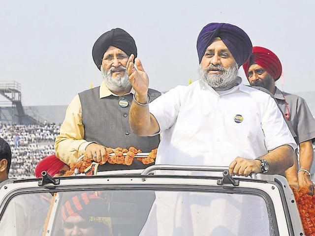 Deputy CM Sukhbir Singh Badal with education minister Daljit Singh Cheema during the 50th anniversary celebrations of the present-day Punjab state, in Ludhiana on Thursday.
