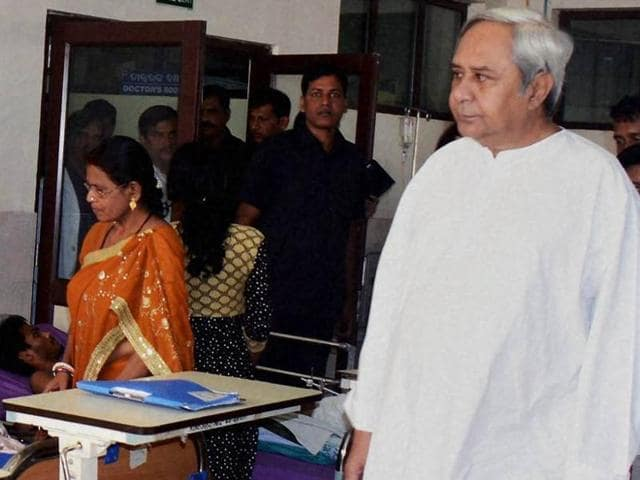 Odisha chief minister Naveen Patnaik visits AIIMS to meet the victims of SUM hospital fire tragedy in Bhubaneswar.