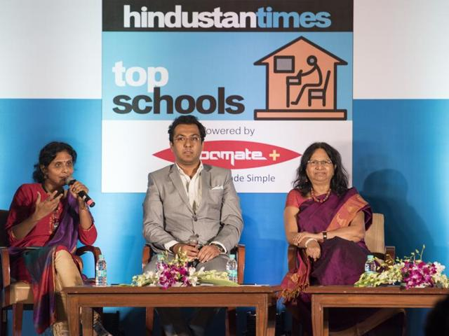 Supriya Joshi, mother of a homeschooled student; Sagar Mundada, the president of MARD; and Reeta Sonawat, head of department, human resource development at SNDT Women's University; discuss the merits of homeschooling with Manoj Nair, associate editor, Hindustan Times, during the Hindustan Times Top School Conclave in Andheri on Wednesday.