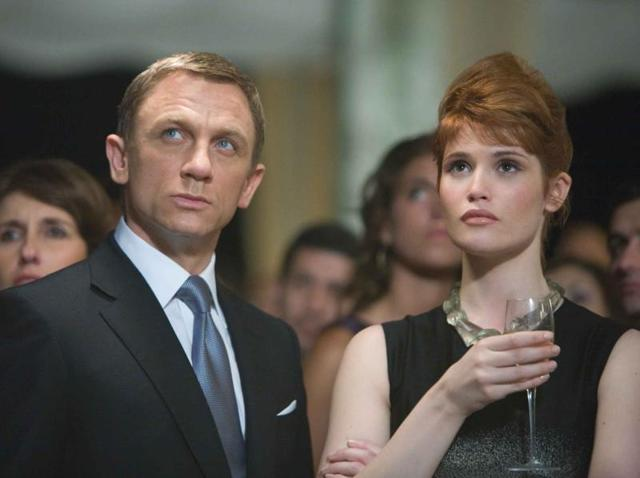 James Bond and Agent Fields infiltrate Greene's fundraising party in Bolivia in a still from Quantum of Solace.