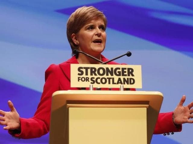 File photo of Scotland's First Minister Nicola Sturgeon addressing the Scottish National Party 's annual conference in Glasgow on October 15, 2016.