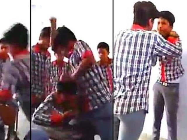 The still shows school boys ruthlessly thrashing their classmate in a classroom while others watch. A video of the violence was posted to social media.