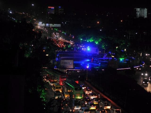 The road leading to Brilliant Convention Centre, the venue of Global Investors meet, has been decorated with coloured bulbs in Indore.
