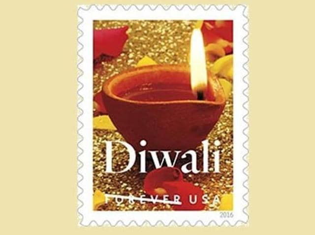 The stamp design, unveiled by the US Postal Service (USPS), is a photograph featuring a traditional oil lamp lit in a sparkling gold background.(Picture courtesy: USPS website)