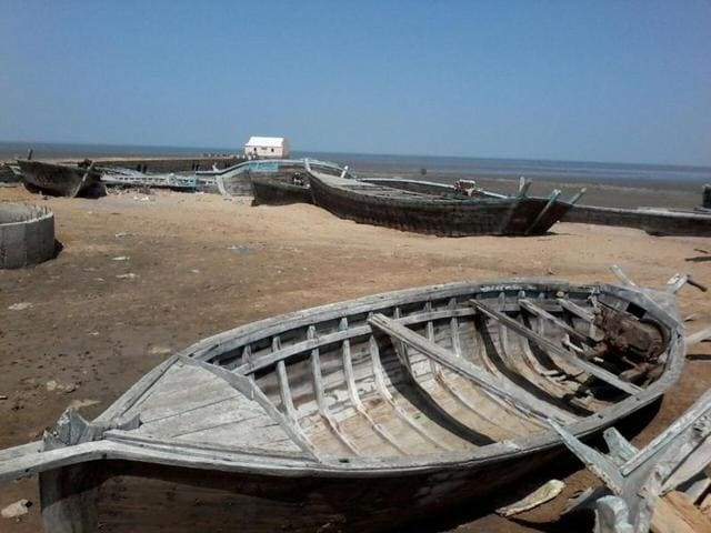 Pakistani trawlers lie in a dismal condition at Koteshwar shore in Kutch district.