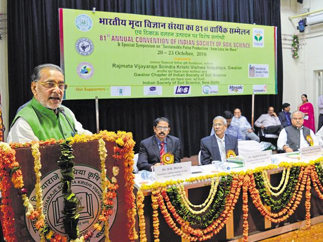 Union agriculture minister Radhamohan Singh at the Indian Society of Soil Science conference in Gwalior on Thursday.