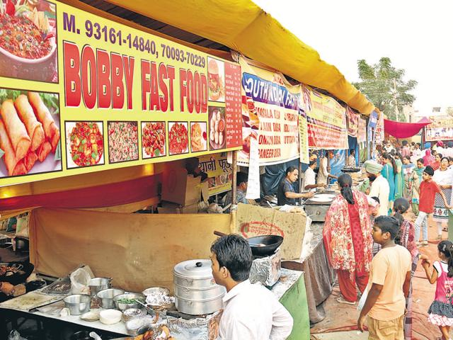 A heavy rush at a food stall during the Saras Mela in Bathinda on Thursday.