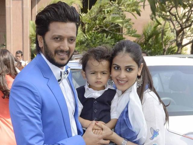 Actor Riteish Deshmukh with his son Riaan and wife, Genelia Deshmukh.