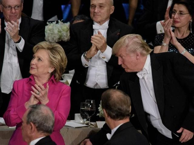 Hillary Clinton and Donald Trump attend the annual Alfred E. Smith Memorial Foundation Dinner at the Waldorf Astoria in New York City.