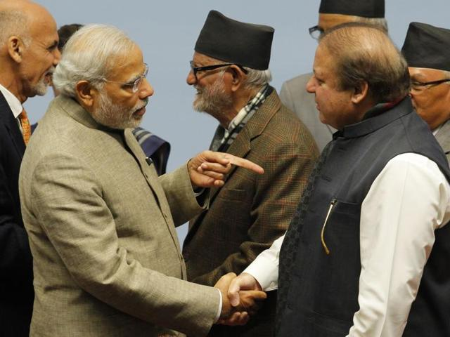 Prime Minister Narendra Modi and his Pakistani counter part Nawaz Sharif at the 18th Saarc summit in November 2014.