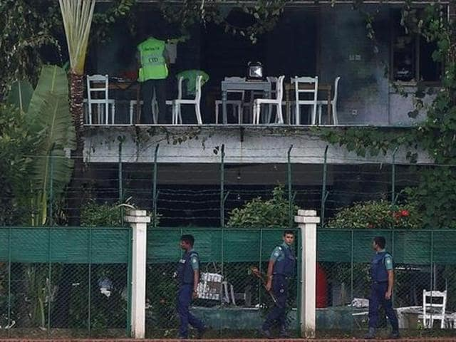 File photo of policemen patrolling outside the Holey Artisan Bakery after gunmen attacked in Dhaka.