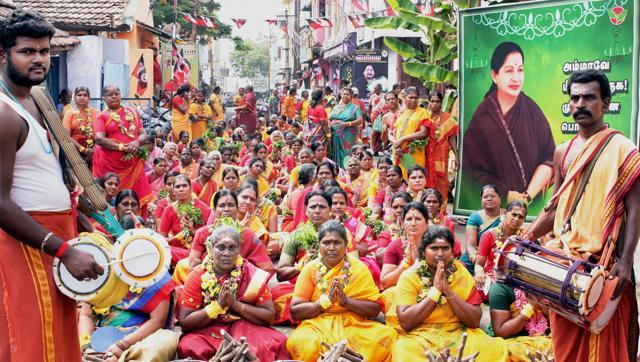 AIADMK supporters offer prayers for the speedy recovery of their leader and Tamil Nadu chief minister J Jayalalithaa, in Coimbatore on Friday.