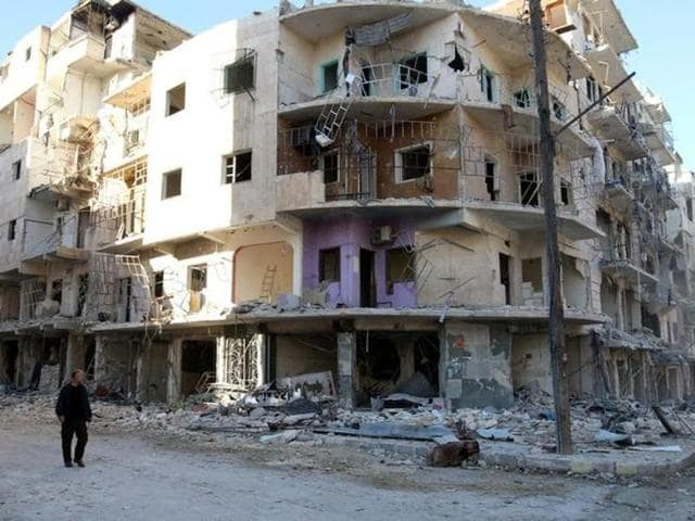 Damaged buildings due to Russian airstrikes in  Aleppo, Syria.