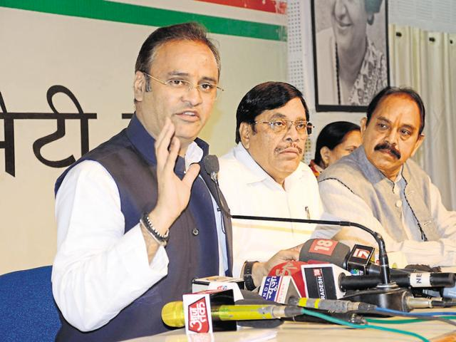 State Congress president Arun Yadav (left) addresses a press conference in Bhopal on Thursday.