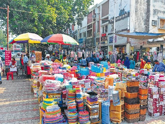 Encroachments by shopkeepers and vendors in the Sector 19 market.