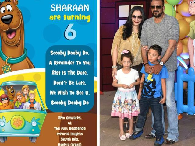 (From left) Sanjay Dutt's kids' birthday invite; Sanjay Dutt and Manyata Dutt along with kids Iqra and Sharaan at the venue; The decoration at the venue.