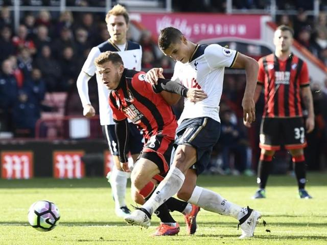 Tottenham's Christian Eriksen in action with Bournemouth's Adam Smith.