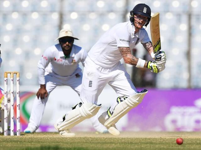 England's Ben Stokes plays a shot during the third day of their first cricket test match against Bangladesh.