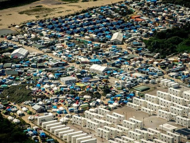 This file photo taken in August, 2016 in Calais, shows an aerial view of the