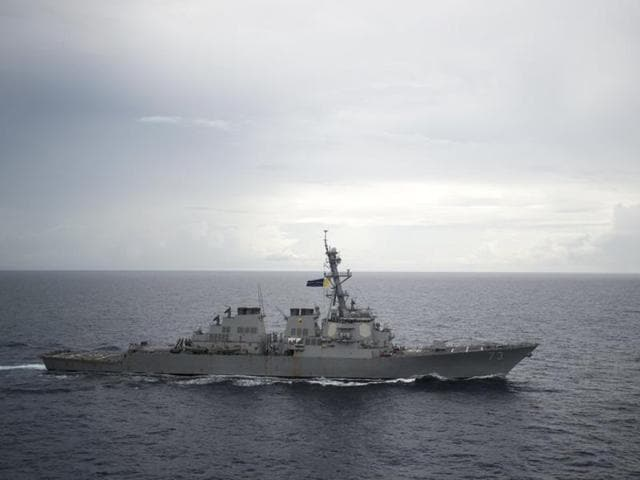 Guided-missile destroyer USS Decatur (DDG 73) operates in the South China Sea as part of the Bonhomme Richard Expeditionary Strike Group (ESG) in the South China Sea on October 13, 2016.