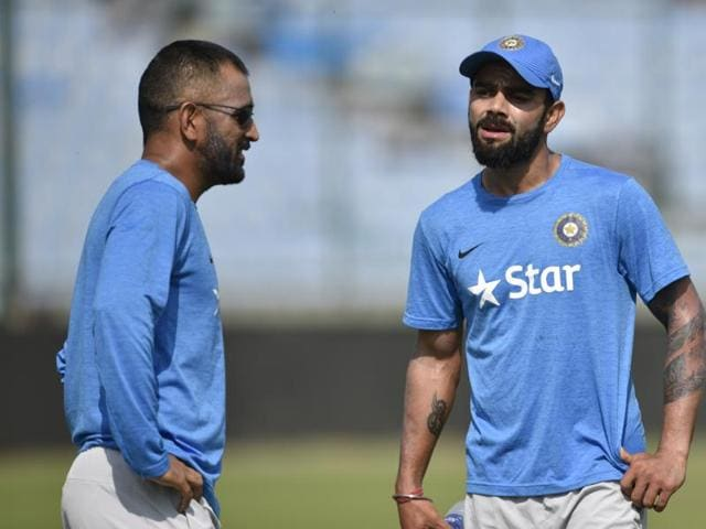 Indian ODI captain MS Dhoni and Virat Kohli during net practice on the eve of their second ODI against New Zealand at Ferozshah Kotla in New Delhi.