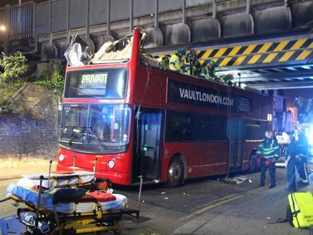 The double-decker bus which crashed under a London Bridge