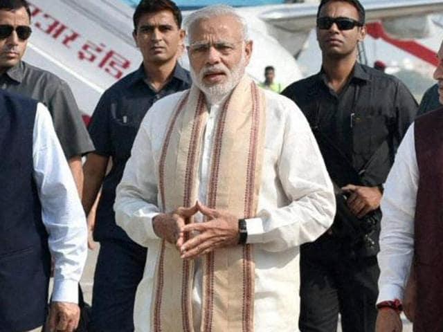 Prime Minister Narendra Modi on his arrival at Vadodara, Gujarat on Saturday.