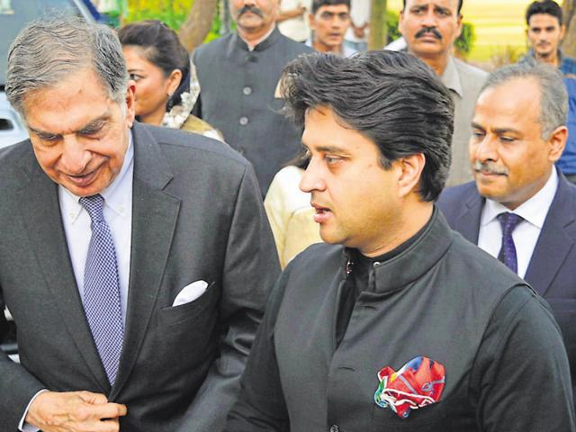 Congress MP Jyotiraditya Scindia accompanies Ratan Tata at The Scindia School, Gwalior, on Friday.