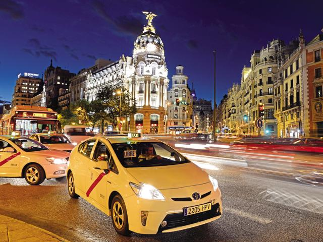 A busy street in Madrid