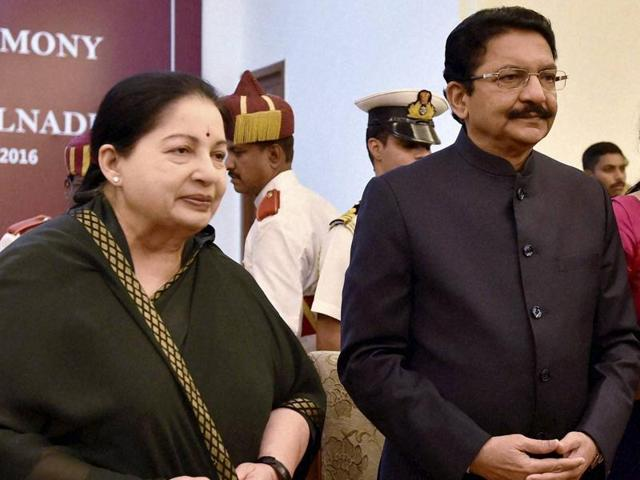 Tamil Nadu chief minister Jayalalithaa talks with acting governor Chennamaneni Vidya Sagar Rao and his wife during his swearing-in ceremony in Chennai in September 2016.