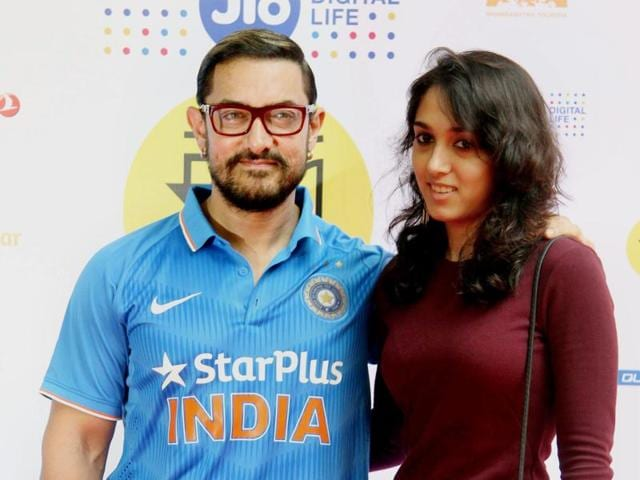 Bollywood actor Aamir Khan and his daughter Ira Khan at the 18th Mumbai Film Festival with Star.