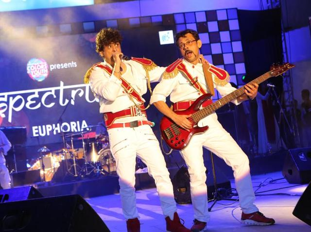 Palash Sen and DJ Bhaduri perform along with their band Euphoria, on day two of IIT Delhi's annual fest Rendezvous (2016).