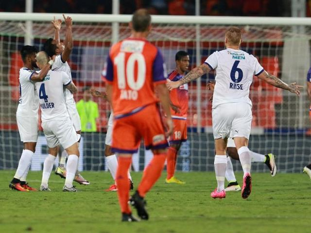 FCPune City rescued a point late in the game after Anibal Rodriguez scored from a free-kick in the 82nd minute.