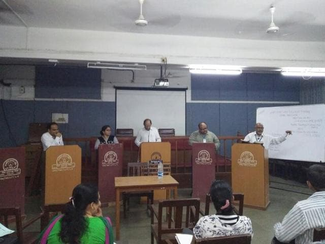 Professors and students of Thane Law College take part in a discussion on personal laws and Uniform Civil Code, on its campus last Friday.
