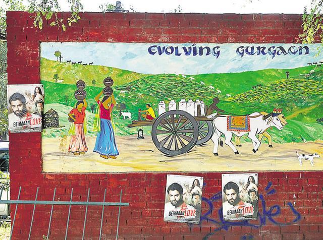 Gurgaon,MG Road paintaings,swachh bharat