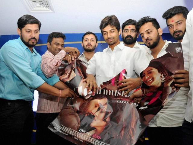 BJP activists protest against the film 'Ae Dil Hai Mushkil' in Thane on Tuesday.
