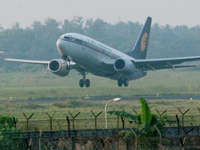 AJet Airways flight takes off at Kolkata airport.