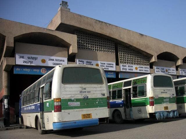 A file photo of CNG buses of Haryana roadways at a bus terminal.