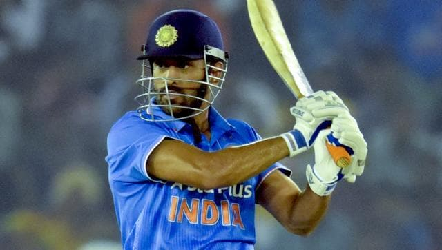 MS Dhoni plays a shot against New Zealand in the third ODI.