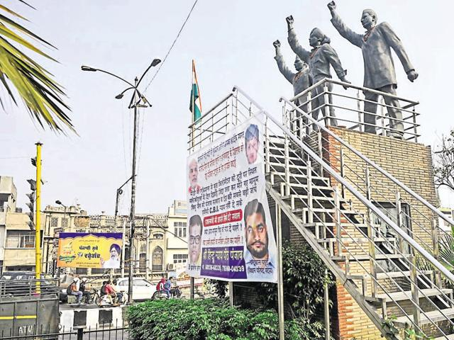 Defacement,martyrs' statues,Bhagat Singh