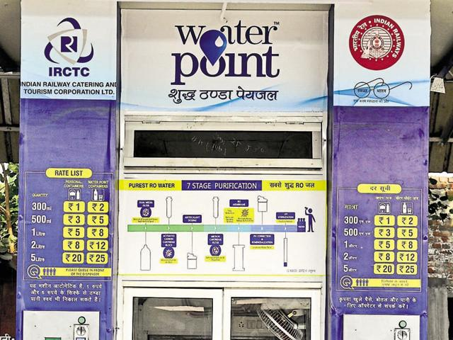 A newly installed water-vending machine at city railway station.