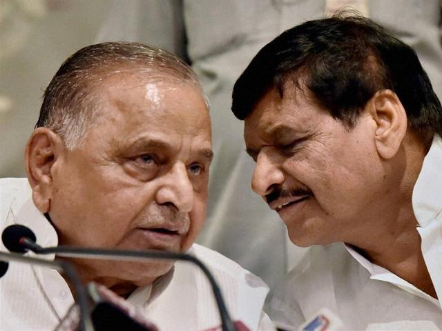 Samajwadi Party supremo Mulayam Singh Yadav with party's state chief and his brother Shivpal at a press conference in Lucknow earlier this month.