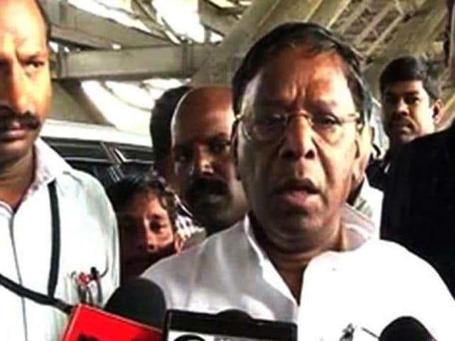 A file photo of Puducherry chief minister V Narayanasamy. He said time has come for Rahul Gandhi to take over as the Congress party chief.