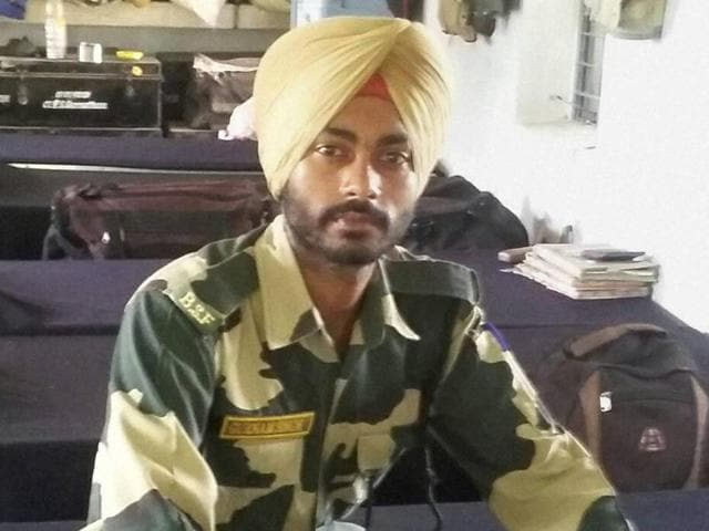 A file photo of BSF constable Gurnam Singh who succumbed to his injuries inflicted by a sniper fire attack by Pakistani Rangers near the international border in Hiranagar, Jammu on Saturday.